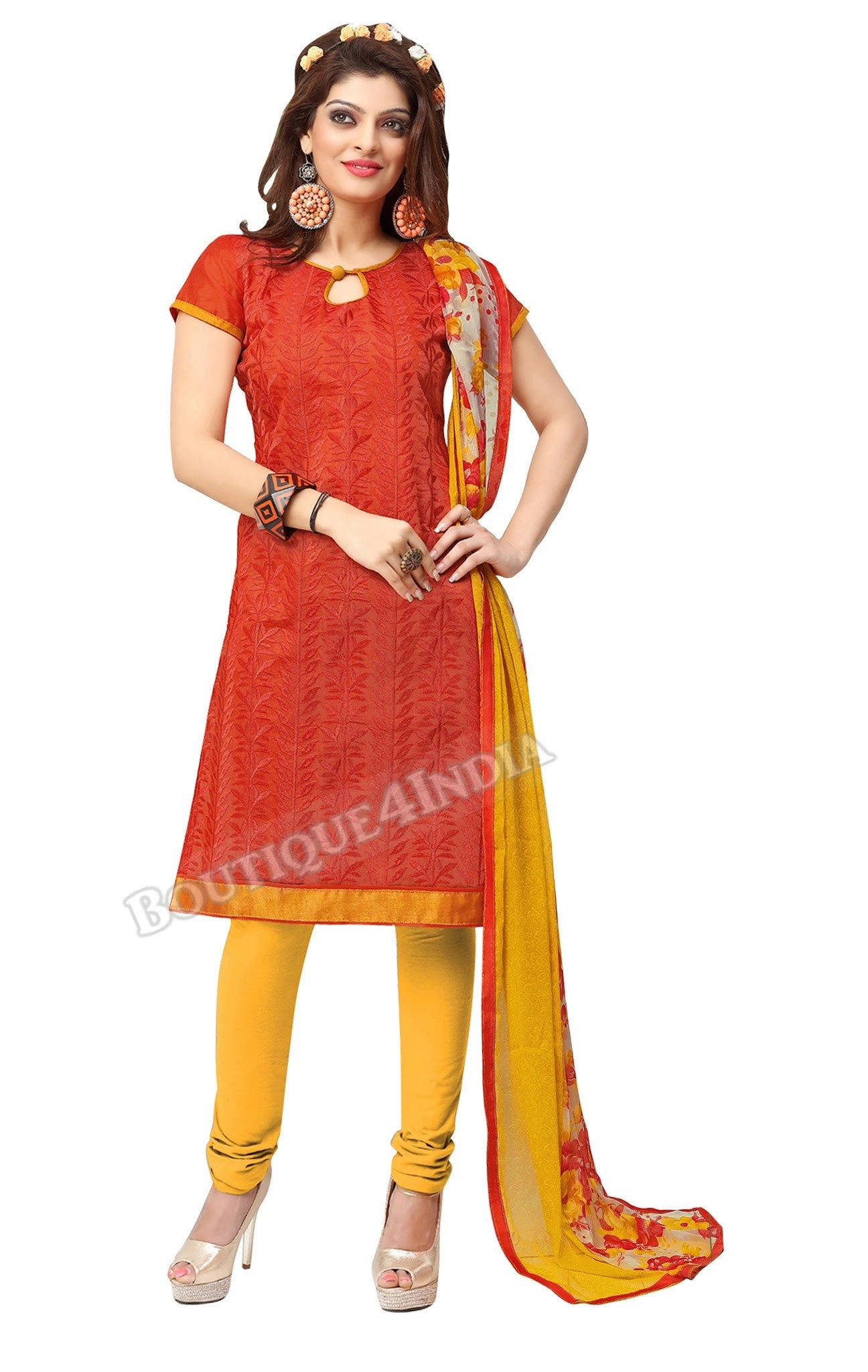 Orange Color Chanderi Embroidered Straight Cut Salwar Suit