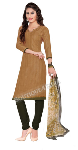 Light brown Color Khadi printed Straight Cut Salwar Suit