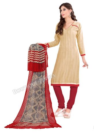 Beige color Khadi printed Straight Cut Salwar Suit