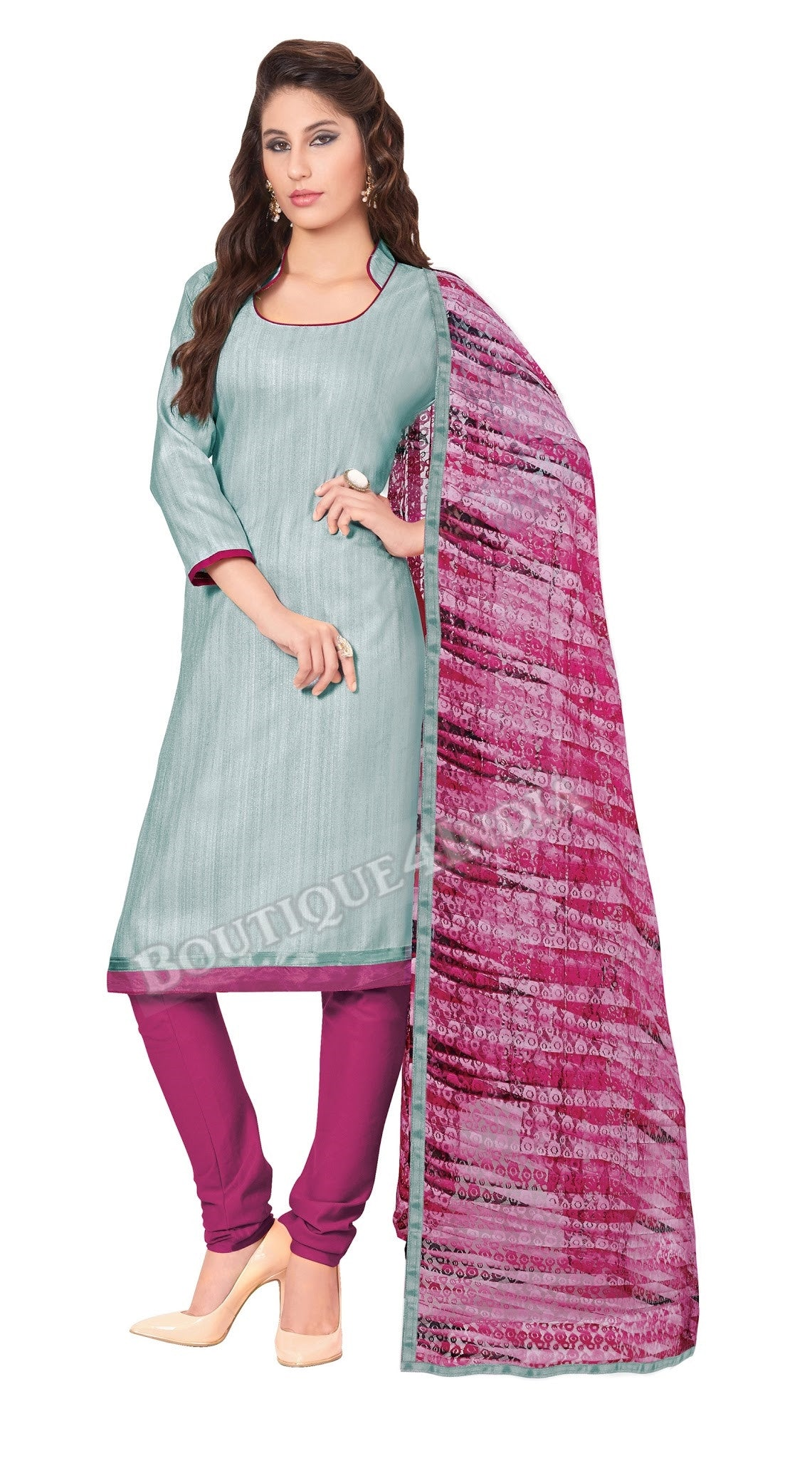 Light Grey Color Khadi printed Straight Cut Salwar Suit