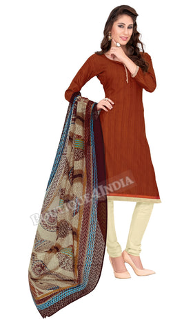 Dark Brown Color Khadi material Straight Cut Salwar Suit