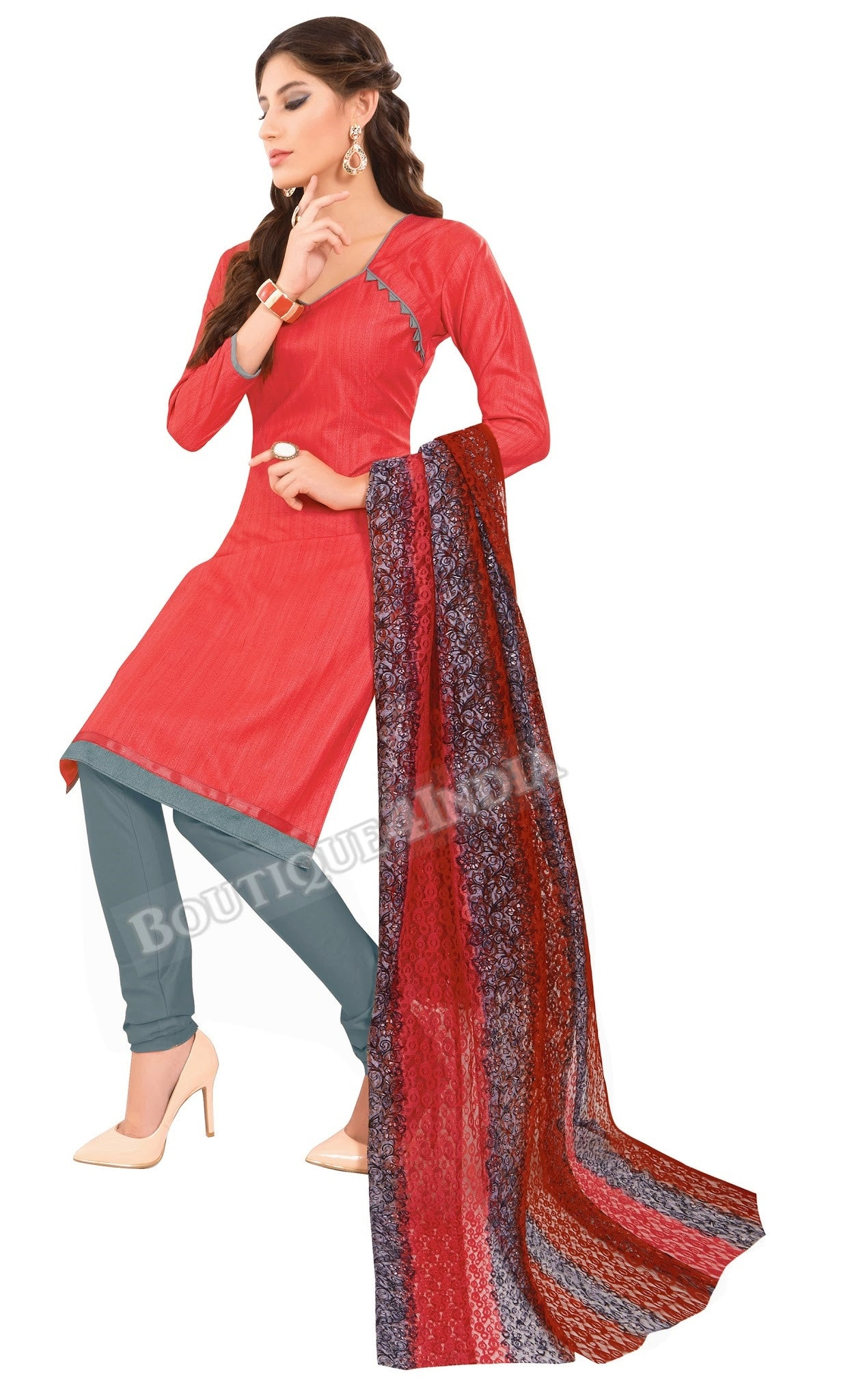 Rasberry Color Khadi printed Straight Cut Salwar Suit