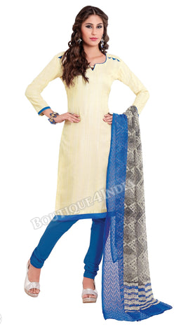 Cream Color Khadi printed Straight Cut Salwar Suit
