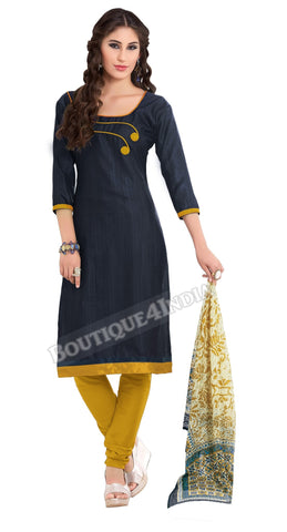 Navy Blue Color Khadi printed Straight Cut Salwar Suit