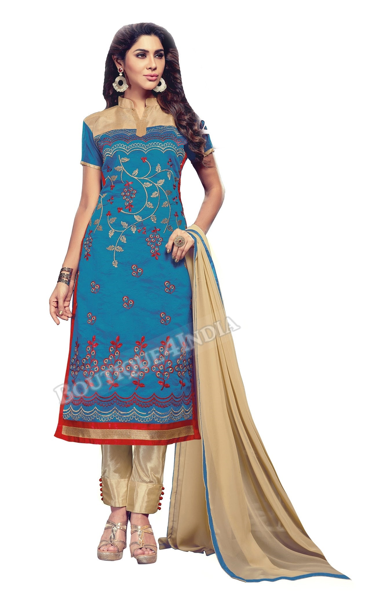 Blue and Beige Color Chanderi Embroidered Straight Cut stitched Salwar