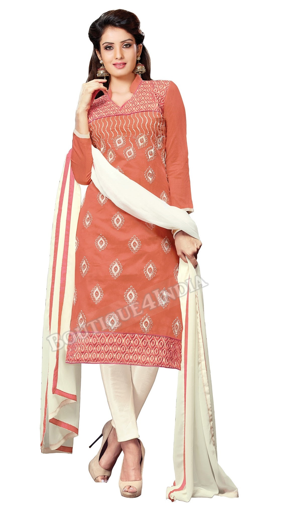 Dark Peach and Cream Color Chanderi Embroidered Straight Cut Salwar Suits