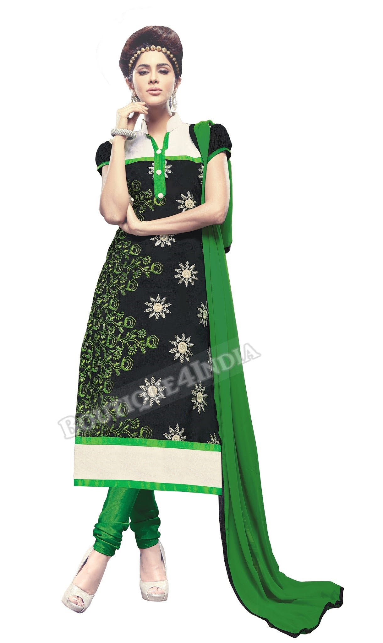 Black, green and white Color Chanderi Embroidered Straight Cut Salwar Suits