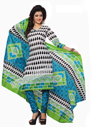 Off white, black, blue Color Cotton Straight Cut Salwar Suit