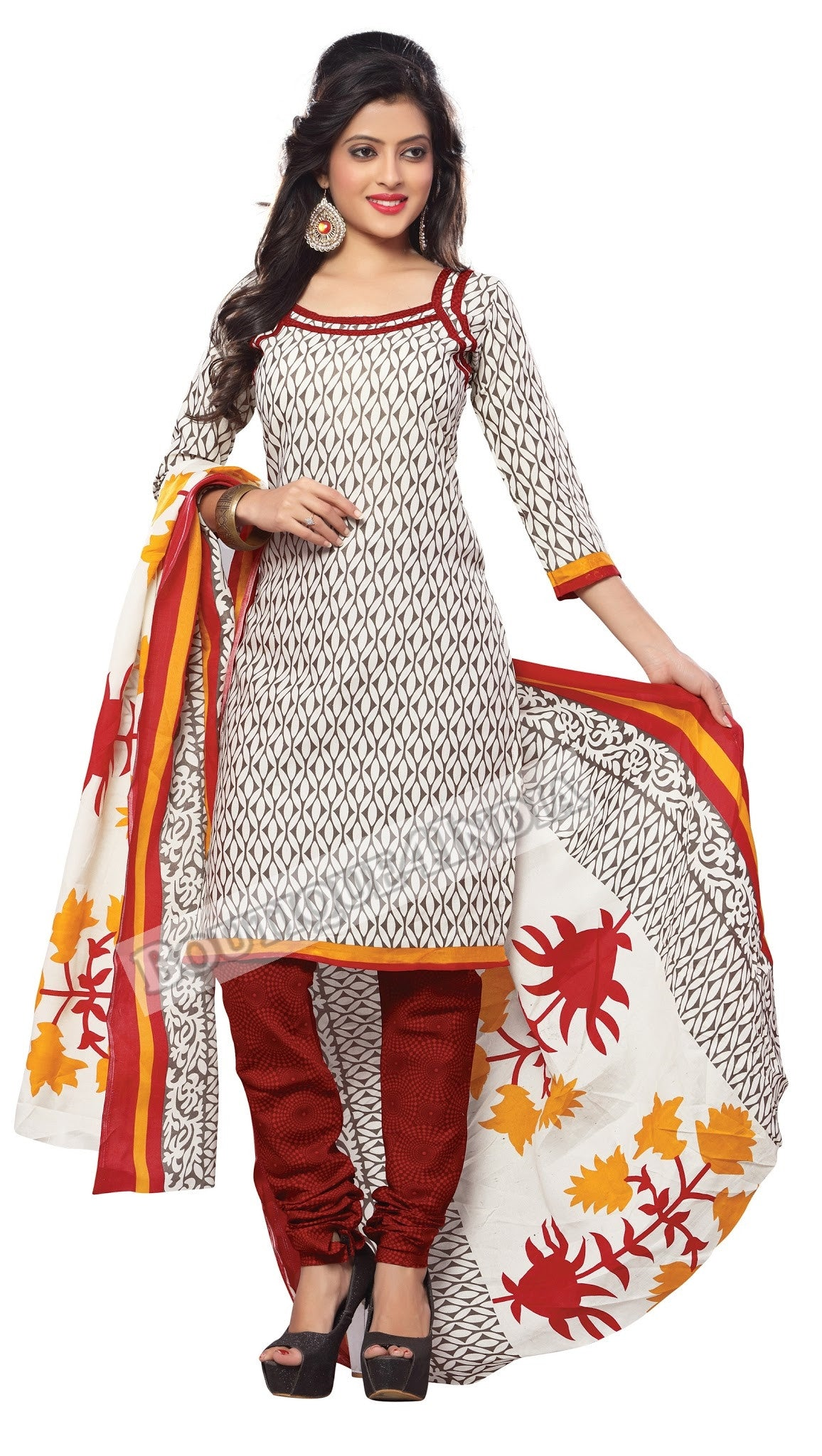 Off white, black and Maroon Color Cotton Straight Cut Salwar Suit