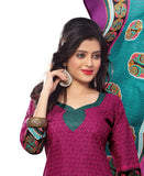 Strawberry and black Color Cotton Straight Cut Salwar Suit
