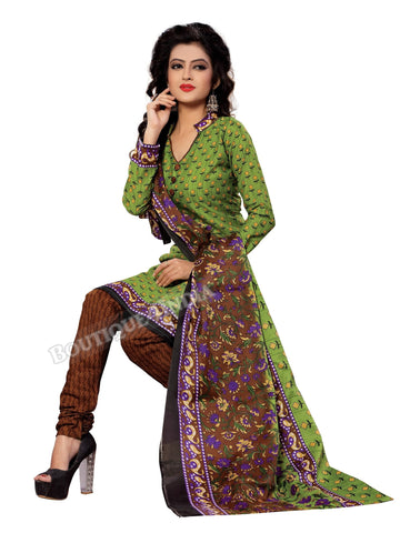 Green, yellow and black Color Cotton Straight Cut Salwar Suit