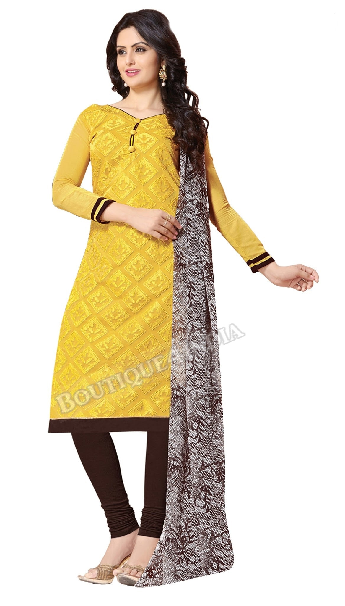 Yellow Color Chanderi Embroidered Straight Cut Salwar Suit