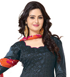 Dark grey Color Chanderi Embroidered Straight Cut Salwar Suit