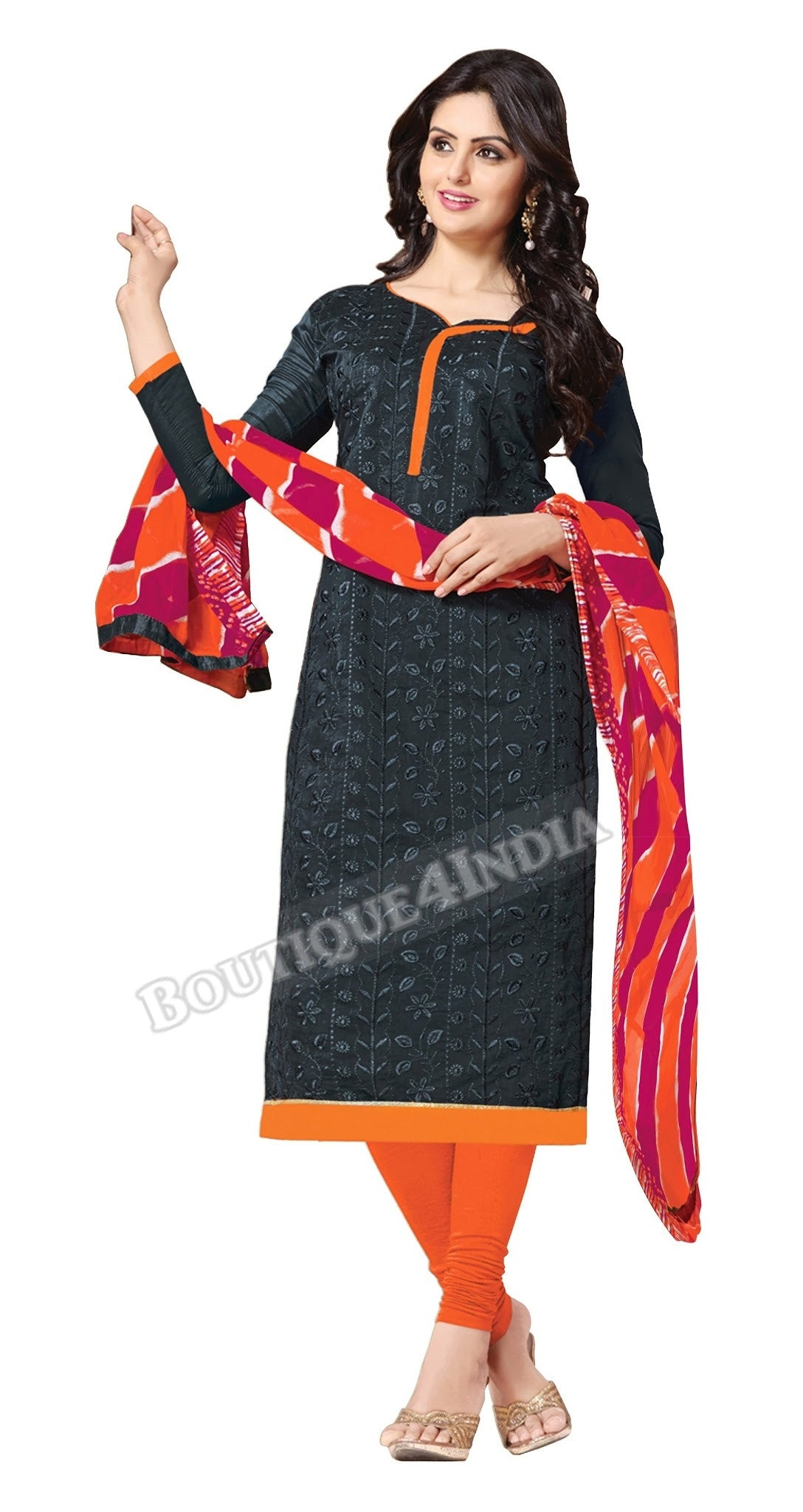Black and Orange Color Chanderi Embroidered Straight Cut Salwar Suit