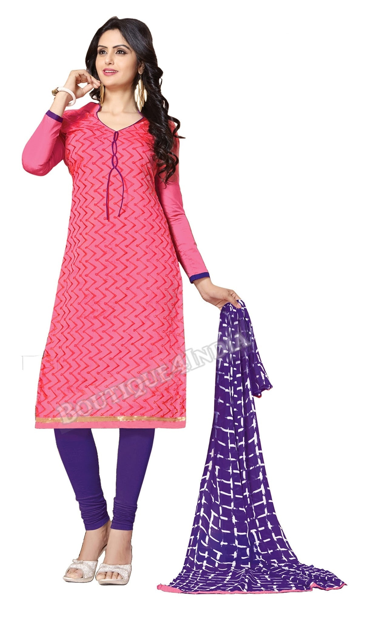 Pink and purple Color Chanderi Embroidered Straight Cut Salwar Suit