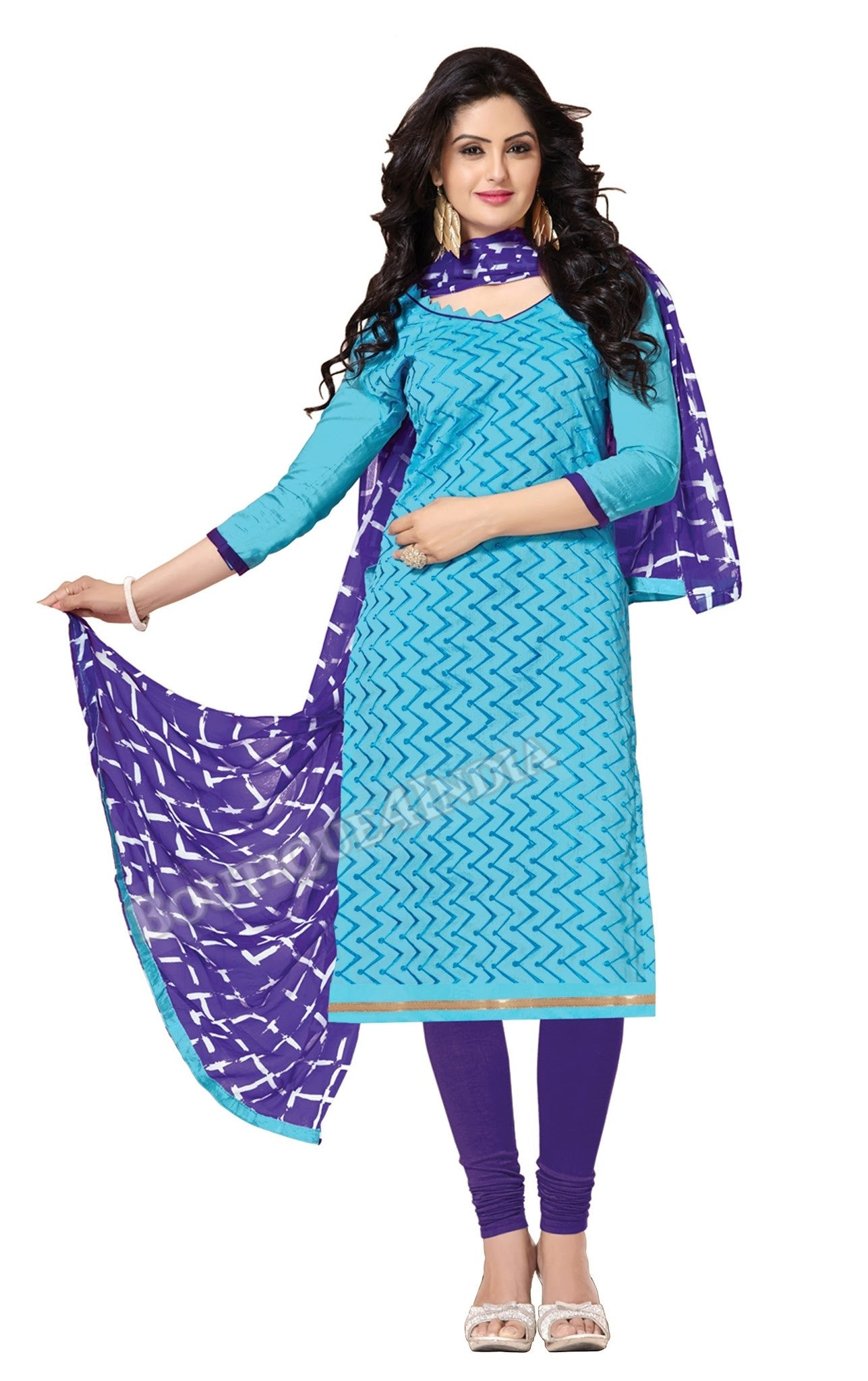 Sky blue Color Chanderi Embroidered Straight Cut Salwar Suit