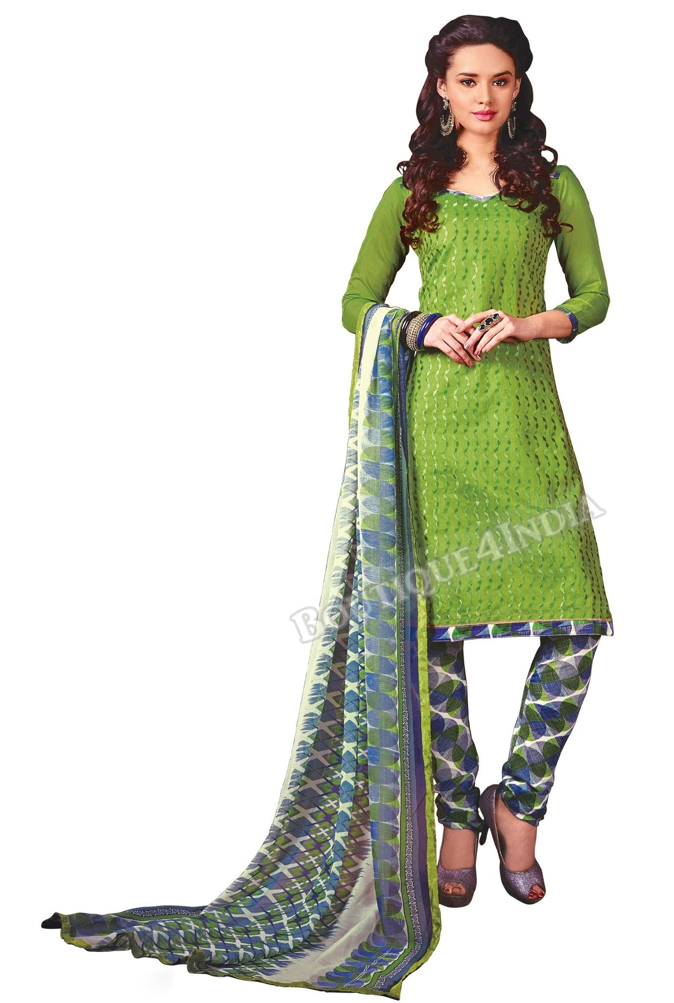 Green Color Chanderi Straight Cut Salwar Suit