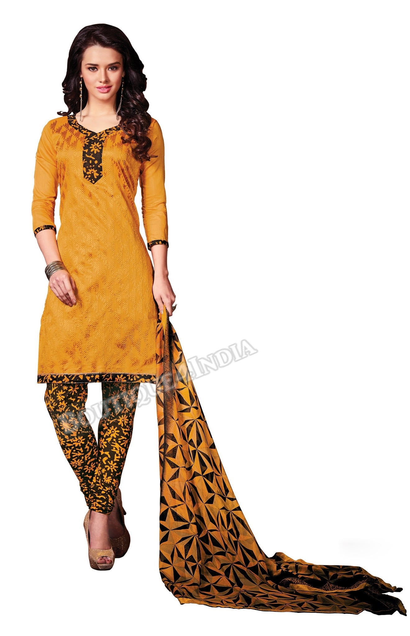 Amber and brown Color Chanderi Straight Cut Salwar Suit