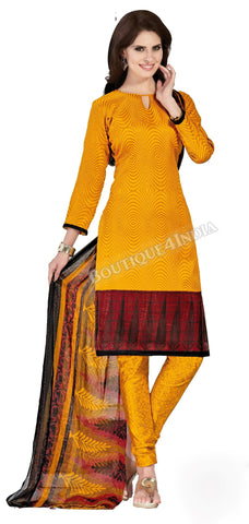 Orange Color Bhagalpuri Silk Straight Cut Salwar Suit