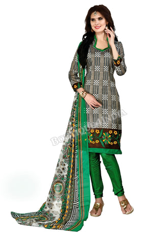 Dark grey and green Color Bahagalpuri Silk Straight Cut Salwar Suit