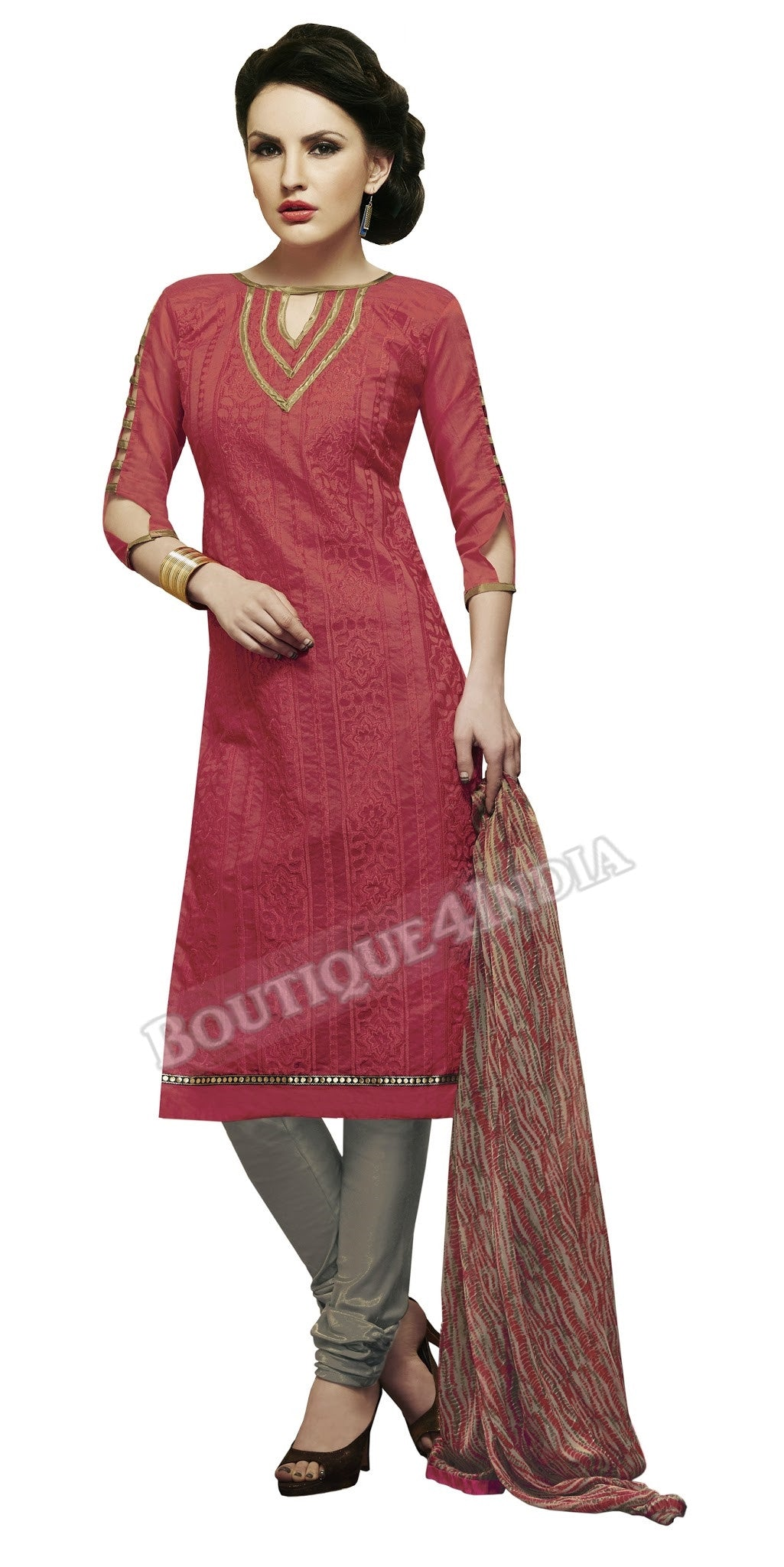 Maroon Color Chanderi Embroidered Straight Cut Salwar Suit