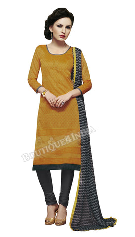 Amber color Chanderi Embroidered Straight Cut Salwar Suit