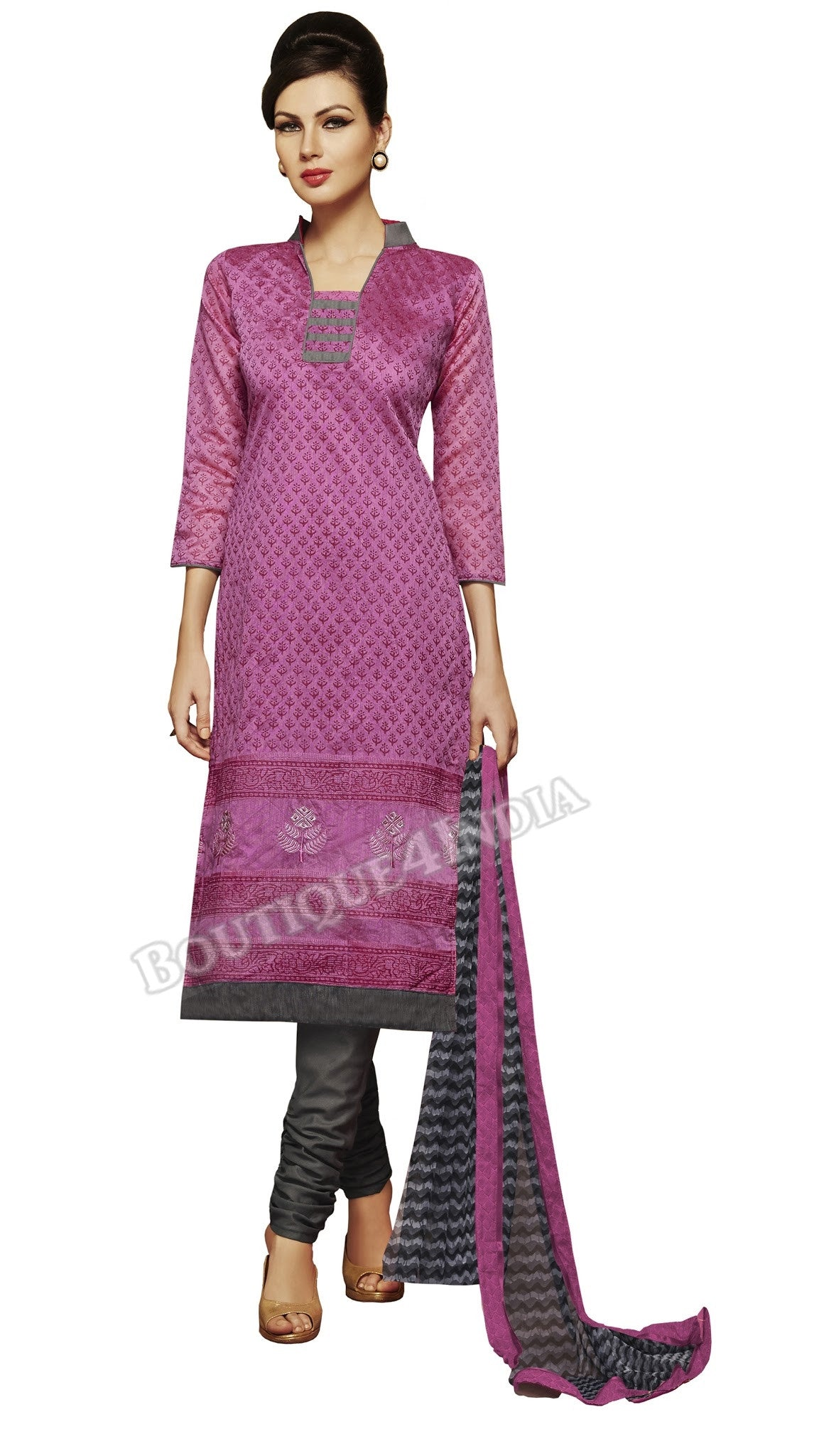 Purple and black Color Chanderi Embroidered Straight Cut Salwar Suit