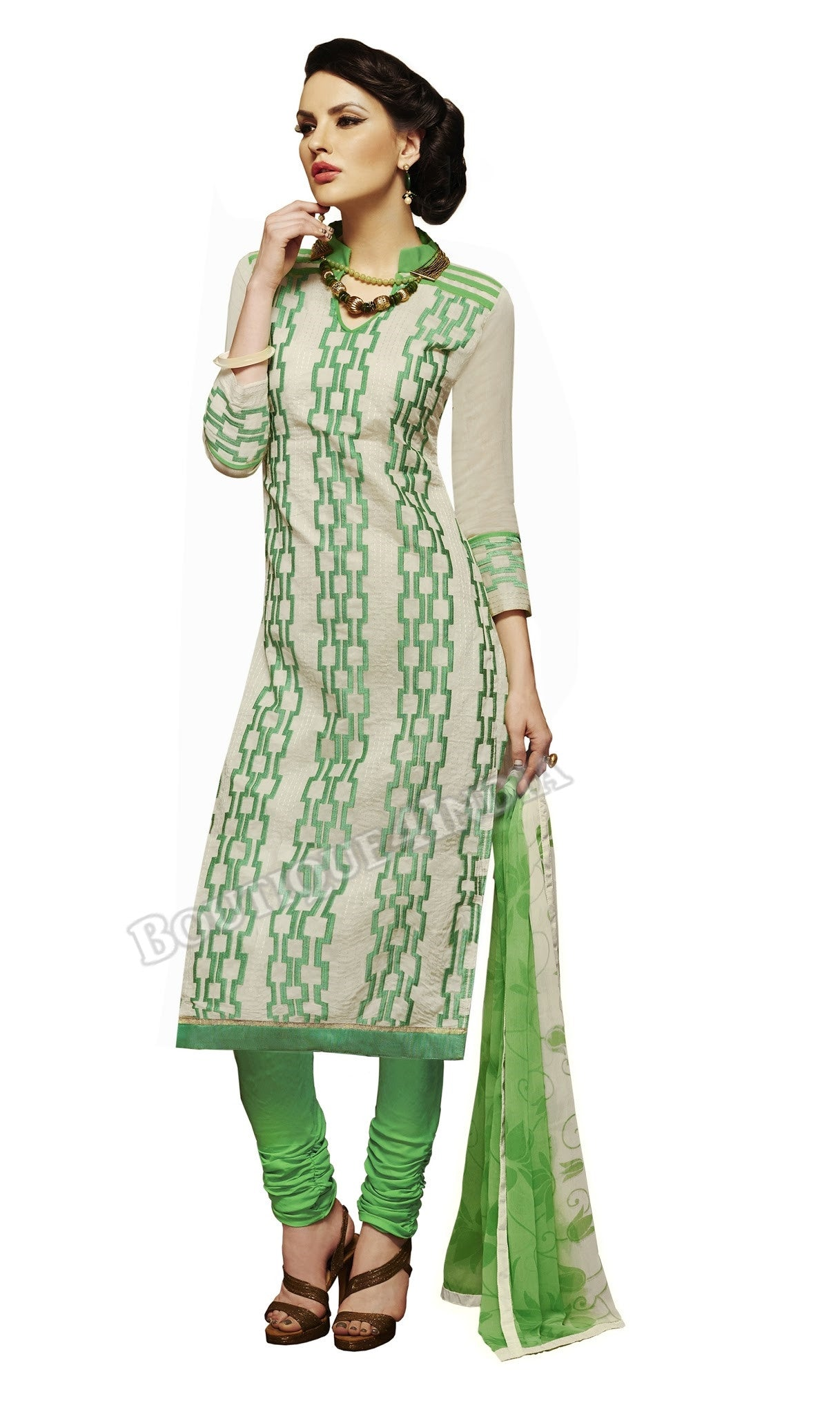 Off white and green Color Chanderi Embroidered Straight Cut Salwar Suit