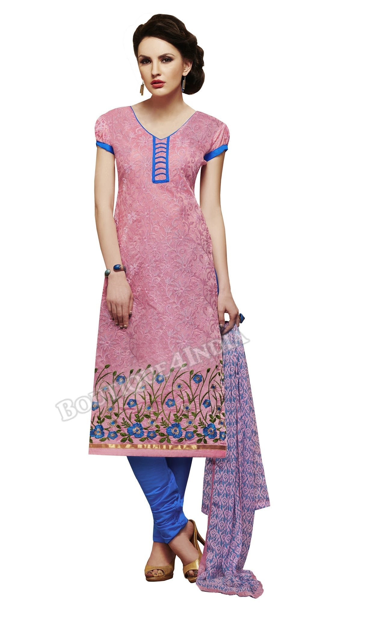 Pink Color Chanderi Embroidered Straight Cut Salwar Suit