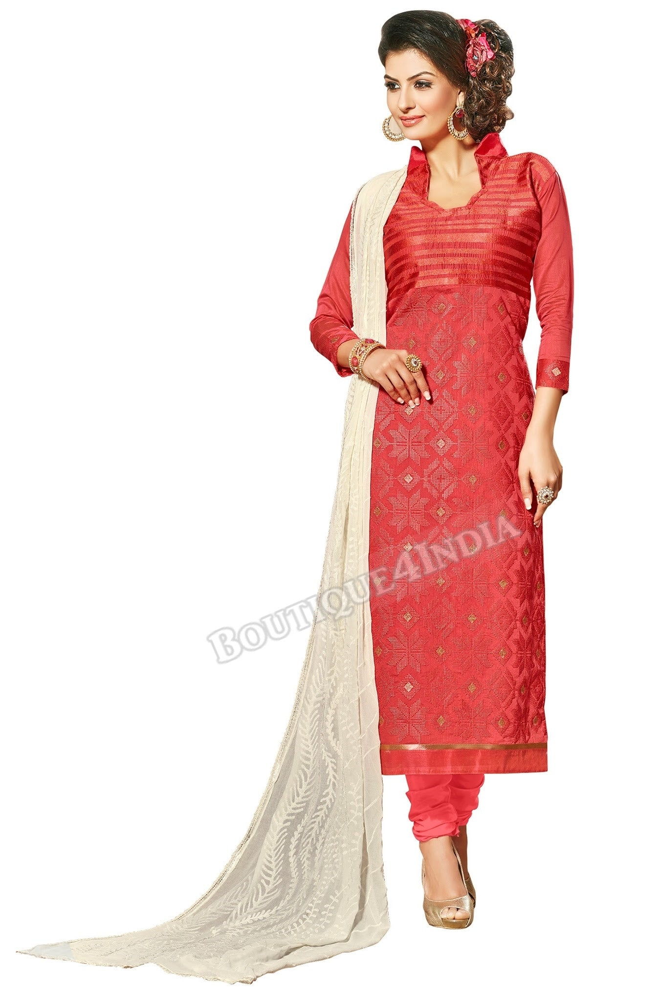 Maroon Color Chanderi Embroidered designer Straight Cut Salwar Suit