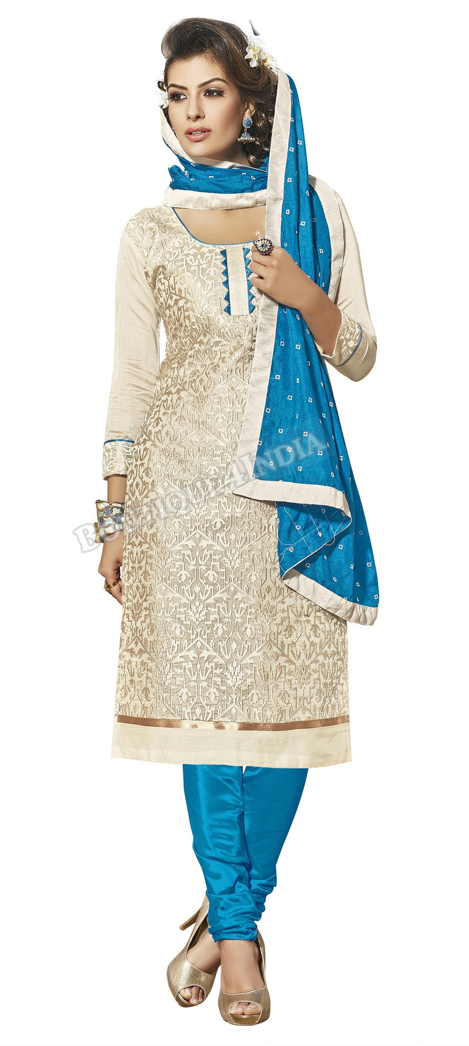 Off white and blue Color Chanderi Embroidered Straight Cut Salwar Suit