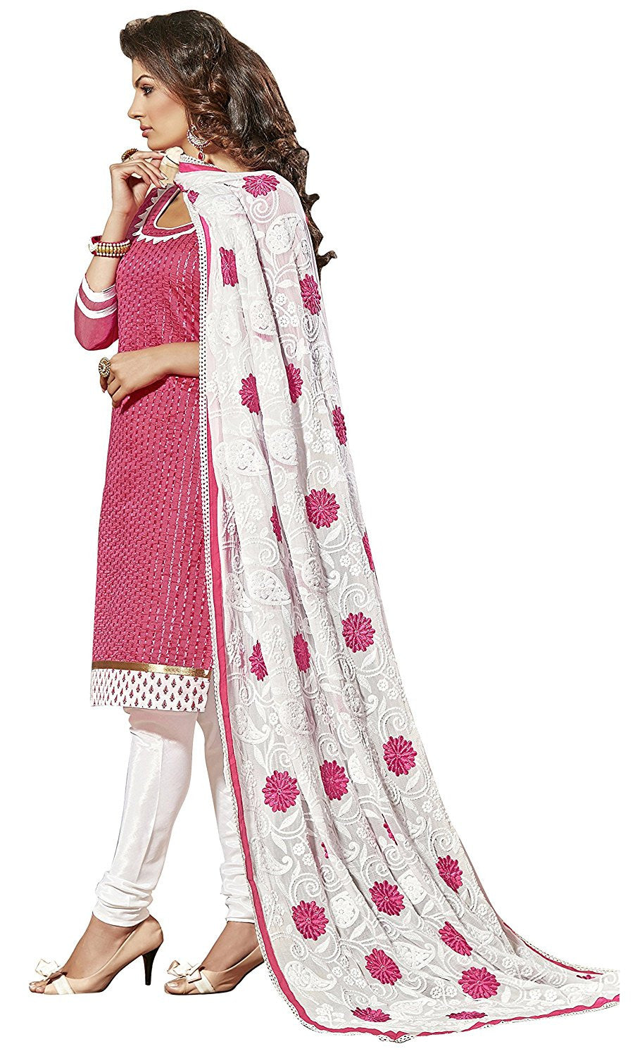 Pink Color Chanderi Embroidered designer Straight Cut Salwar Suit