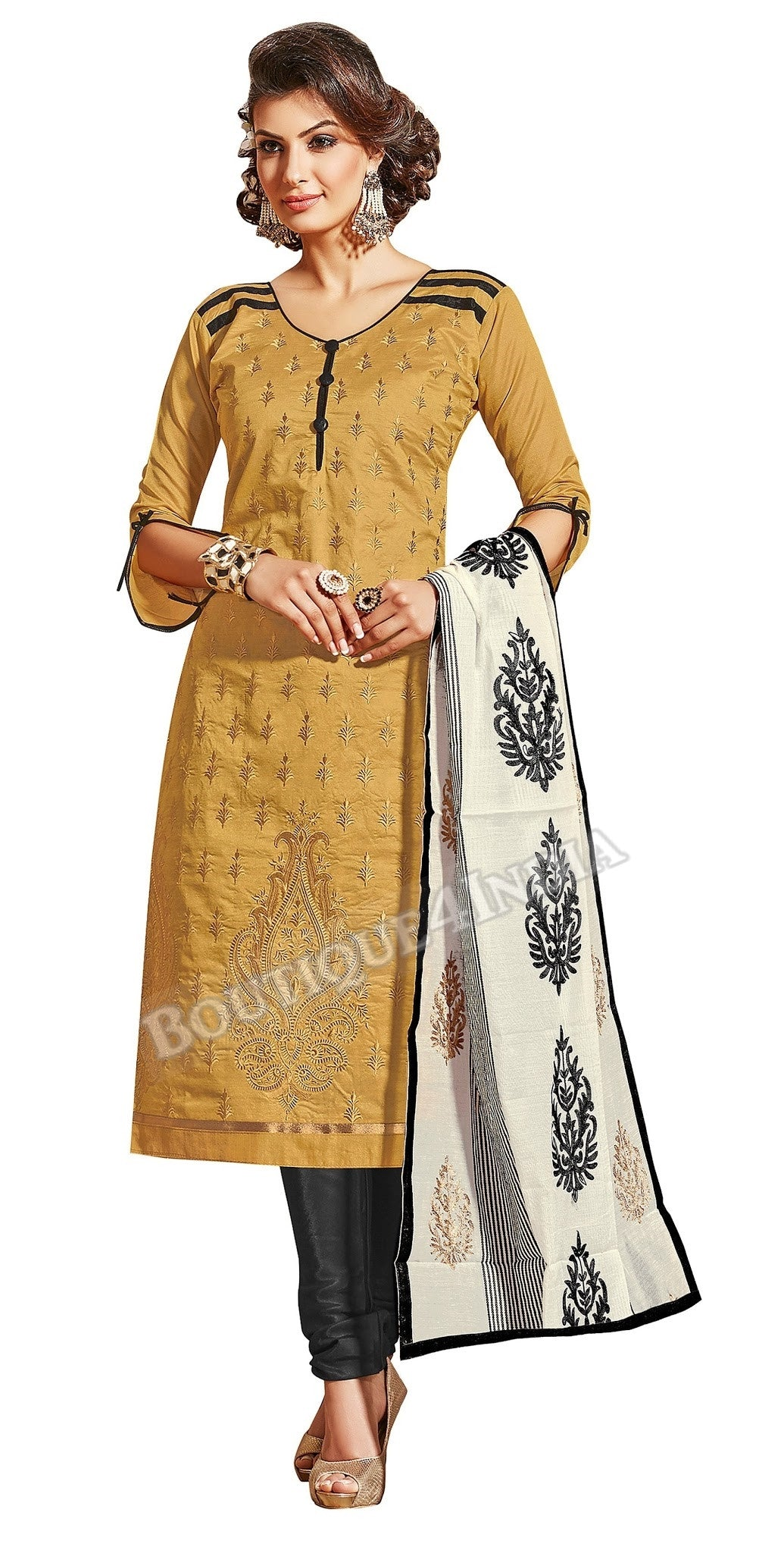 Amber Color Chanderi Embroidered designer Straight Cut Salwar Suit