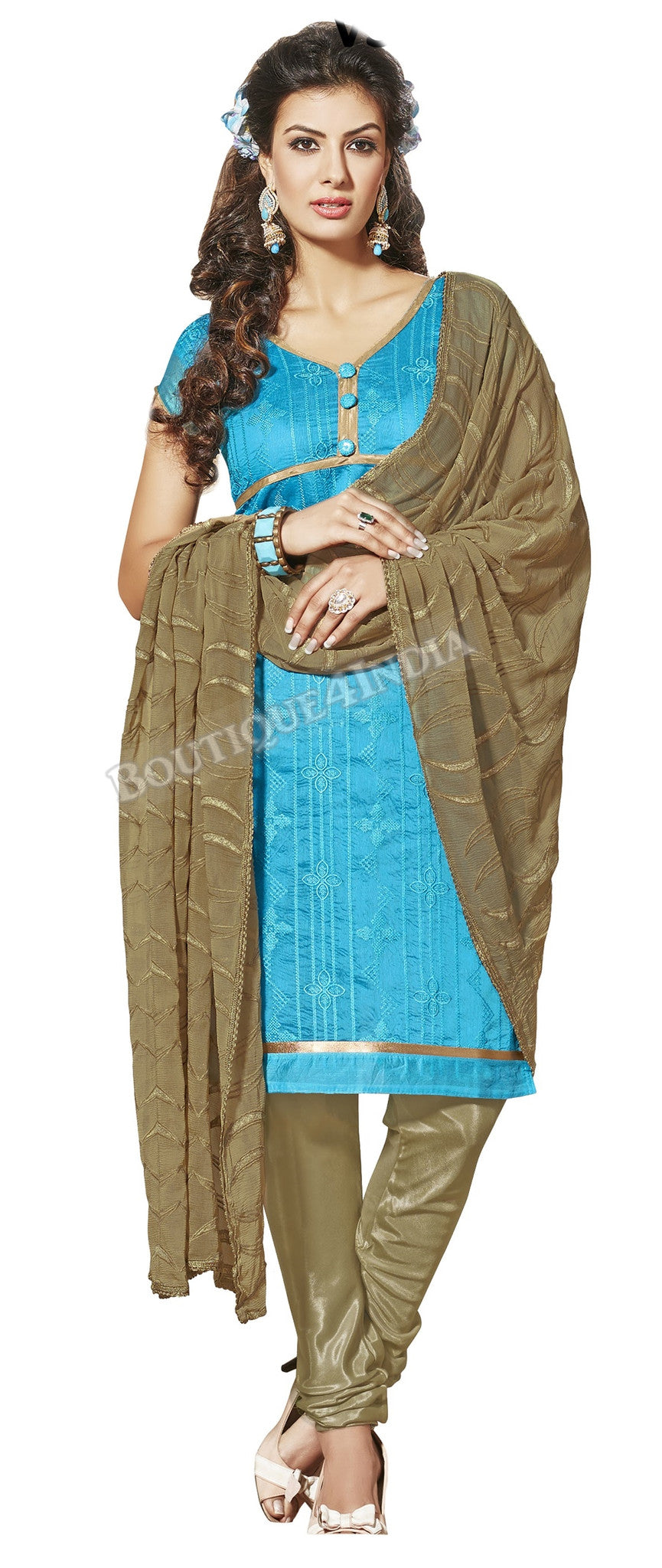 Sky Blue Color Chanderi Embroidered designer Straight Cut Salwar Suit