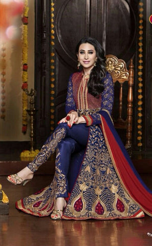 Exquisite Heavy Work Wedding Collection- Royal Blue, Rich Red And Golden  Top To Bottom Rich Work Designer Wedding Stunning Collection / Party / Wedding / Festival / Special Occasion - Ready to Stitch - Boutique4India Inc.