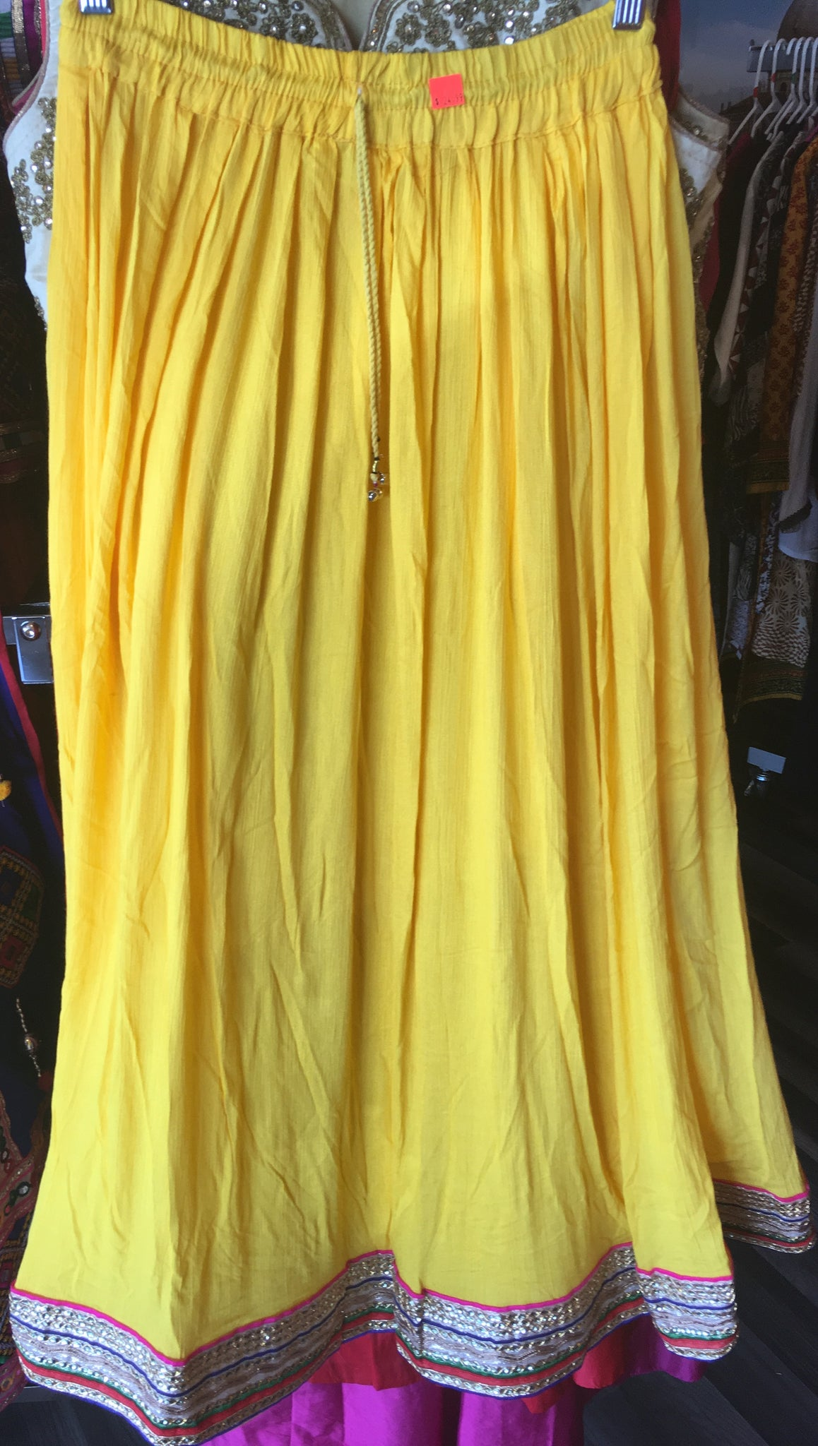 Casual Indian Yellow with Zari skirt