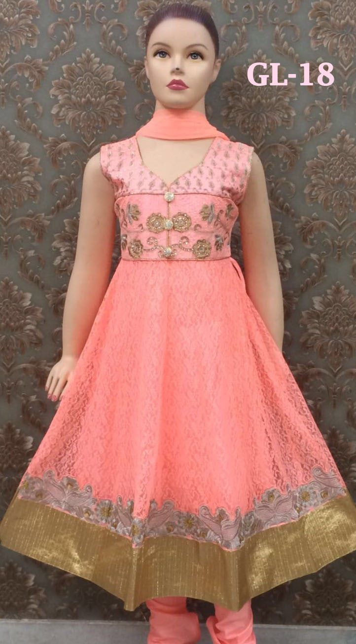 Girl's - Peach/ Orange And Golden Salwar Suit - Gilr's Party And Wedding Collection Salwar Suits For Special Occasions - Boutique4India Inc.