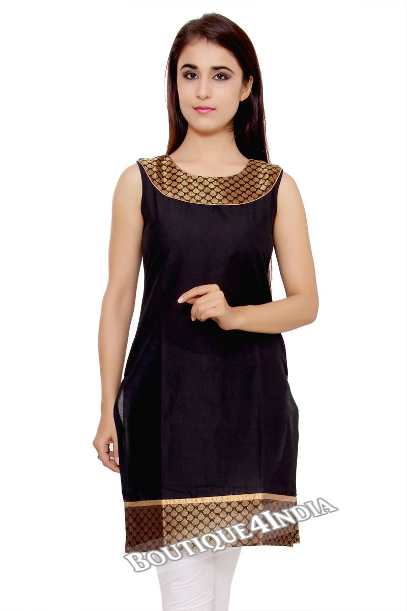 Black Cotton Straight Solid Short Round Neck Kurti