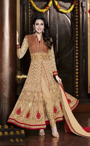 Exquisite Heavy Work Wedding Collection- Golden, Ivory And Rich Red Top To Bottom Rich Work Designer Wedding Stunning Collection / Party / Wedding / Festival / Special Occasion - Ready to Stitch - Boutique4India Inc.