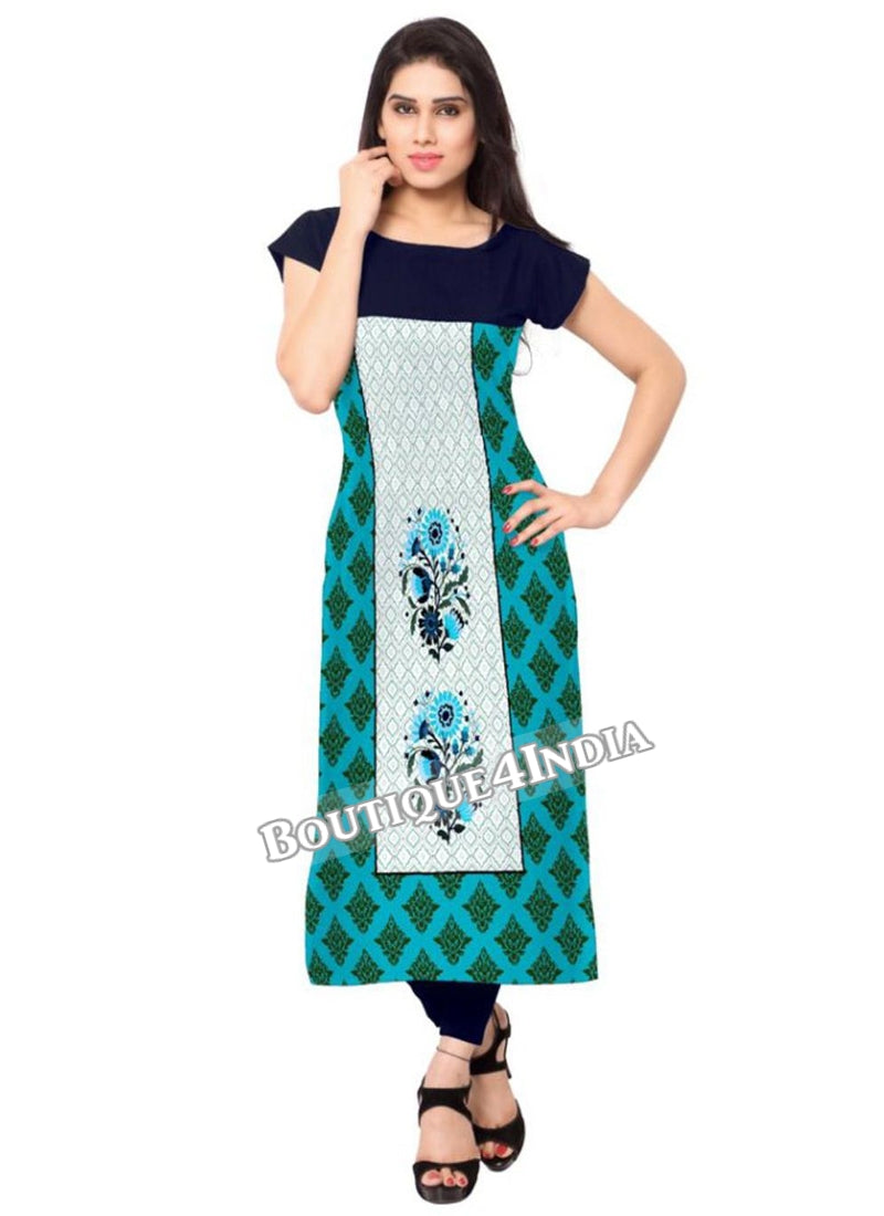 off white multicolor Crepe Casual wear Printed Kurti