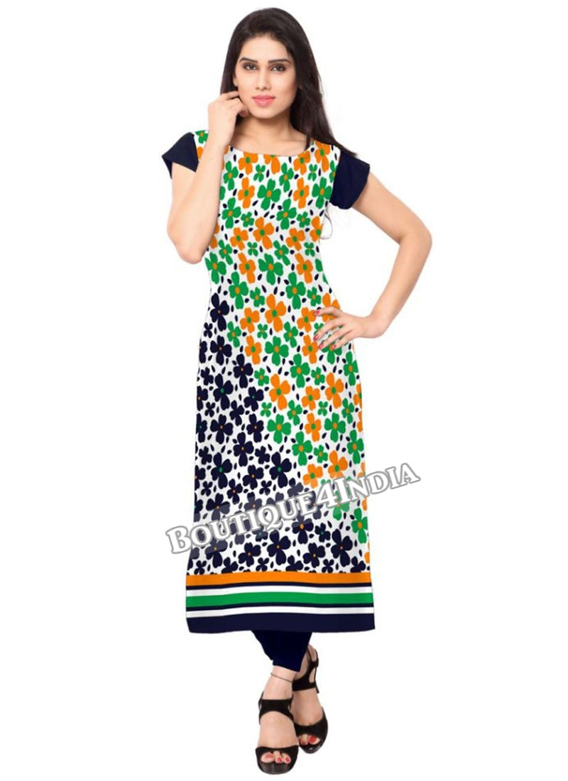 green black Crepe Casual wear Printed Kurti