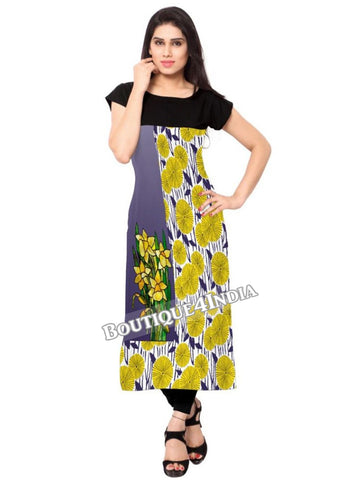 Grey and yellow floral Crepe Casual wear Printed Kurti