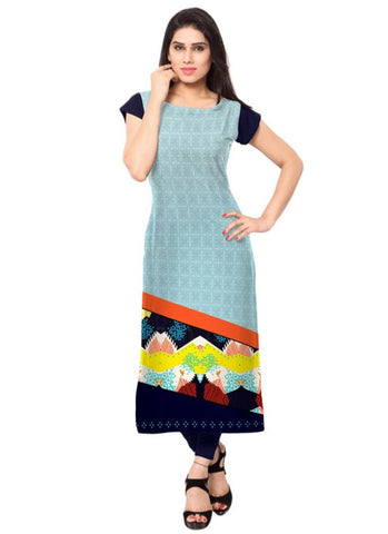 Pale green Crepe Casual wear Printed Kurti