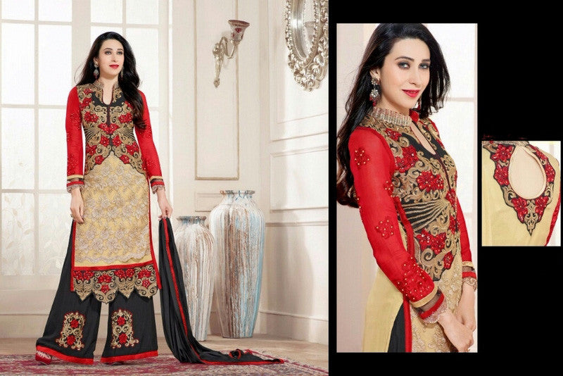 Heavy Work Designer Wedding Collection - Orange Shades, Black And Gold Grand And Graceful Heavy Embroidery And Lace Work Unique Collection For Party / Wedding / Festival / Special Occasion - Ready to Stitch - Boutique4India Inc.