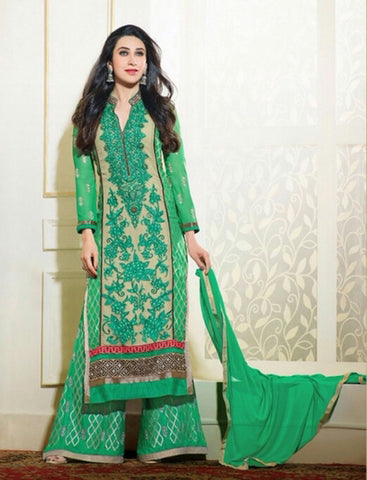 Heavy Work Designer Wedding Collection - Shades Of Green, Golden Grand And Graceful Heavy Embroidery And Lace Work Unique Collection For Party / Wedding / Festival / Special Occasion - Ready to Stitch - Boutique4India Inc.