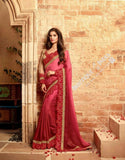 Sarees - Ruby Red And Golden Stunning Bridal Designer Collections - Wedding / Party / Bridal - Boutique4India Inc.