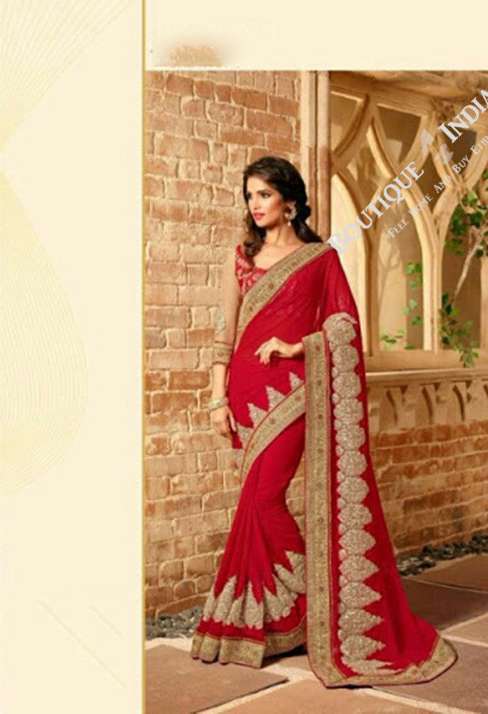 Sarees - Ruby Red/ Maroon And Golden Stunning Bridal Designer Collections - Wedding / Party / Bridal - Boutique4India Inc.