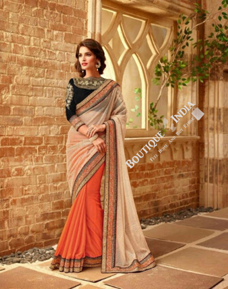 Sarees - Orange And Golden Stunning Bridal Designer Collections - Wedding / Party / Bridal - Boutique4India Inc.