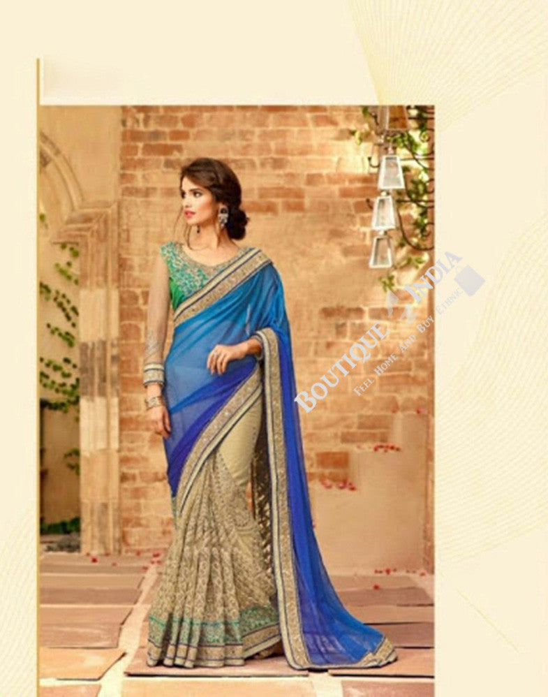 Sarees - Blue And Green Family And Golden Stunning Bridal Designer Collections - Wedding / Party / Bridal - Boutique4India Inc.