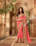 Sarees - Peach/ Pink And Golden Stunning Bridal Designer Collections - Wedding / Party / Bridal - Boutique4India Inc.